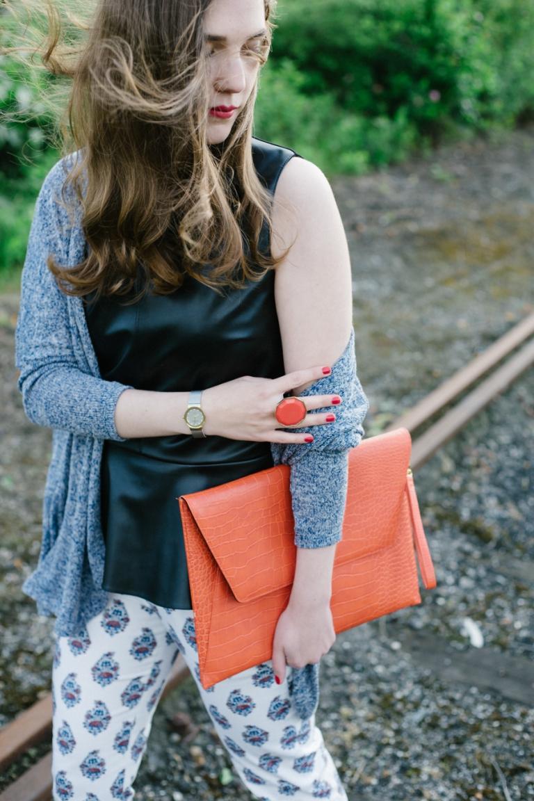 Tessa von Tweed and Tulle, Fashion Outfit, orange Tasche